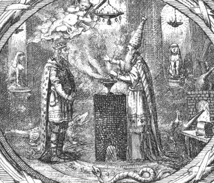One of the engraved illustrations from Liebeskind's Dschinnistan, showing a Sarastro-like high priest, Egyptian statuary, symbols of magic and the occult, and a princely figure.